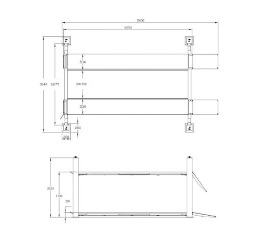 Pont elevateur 4 colonnes 4T semi automatique Acheter sur mecatelier be schema dimensions - €3 590,00 -