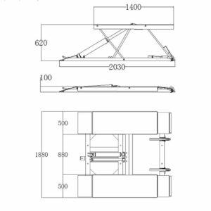 pont ciseaux 3T mobile profil bas 60cm schema - €1 360,00 -