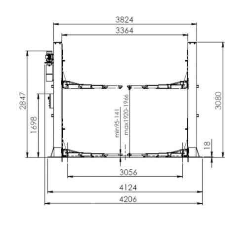 pont elevateur 2 colonnes automatique 5T acheter sur mecatelier dimensions - €2 650,00 -