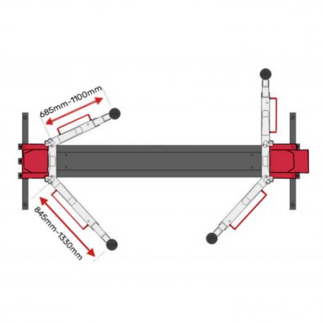 Pont 2 colonnes LED spécifications bras