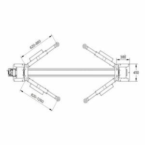pont 2 colonnes 4t automatique 400v spécifications bras
