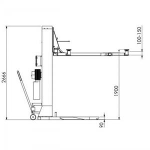 pont monocolonne mobile dimensions latéral